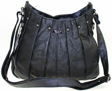 NEW LADIES MEDIUM LORENZ COWHIDE REAL LEATHER HAND PLEATED CROSS BODY BAG