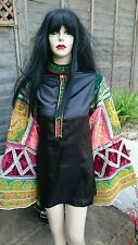 Handmade Vintage Ethnic Patchwork 60s Hippie Style Dress W/ Huge Bell Sleeves