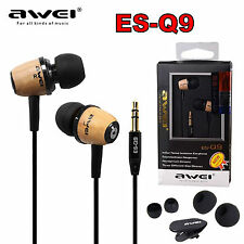 AWEI ES-Q9 Super Bass Holz In-Ear Ohrhörer Headphones Earphones Kopfhörer