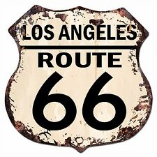 BP-0020 LOS ANGELES ROUTE 66 Shield Rustic Chic Sign Bar Store Shop Home Decor