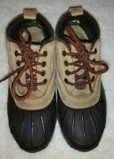 Women's L.L. BEAN Duck Ankle Lace Up Boots Tan & Brown Size 7M