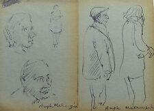 HUGH MCKENZIE - TWO (2) INK DRAWINGs OF PEOPLE #2 - FREE SHIP IN US