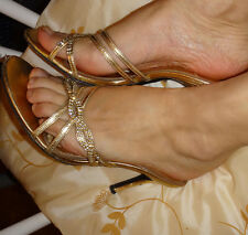 Worn sexy sandals high heel well worn used 38 gold leather