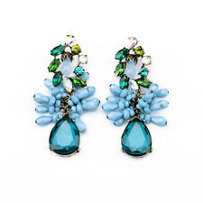 ZARA CLUSTER BEADED SHADE OF BLUE GREEN SPARKLING DROP EARRINGS – NEW