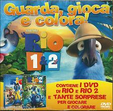 Rio 1 & 2 (2014) Cofanetto 2 DVD + Giochi e Album da Colorare con Pastelli Nuovo