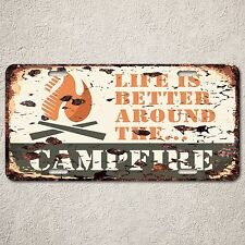 LP0106 Campfire Sign Auto License Plate Rust Vintage Home Store Decor