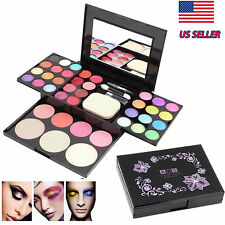 Pro Warm Colors Matte Shimmer Eyeshadow Palette Makeup Kit Set + Brush Mirror E1