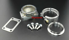"T3 GT30 GT35R Turbo Inlet To 3"" V Band SS Tapped Adapter w/Clamp GSK Studs Nuts"