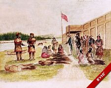 FUR TRADING AT FORT NEZ PERCE FRENCH CANADIAN PAINTING ART REAL CANVAS PRINT