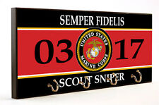 SEMPER FIDELIS 0317 SCOUT SNIPER MARINE CORPS WOOD 4 KEY HANGER HOLDER USA MADE