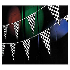 100' Pennant Flag Banners Black White Checkered Nascar Race Car Party Decor ft