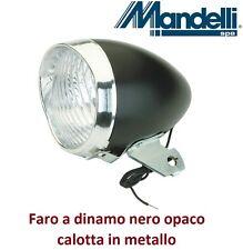 0160 - Faro Anteriore Vintage Nero a dinamo per Bici 26-28 Retrò - Old Style