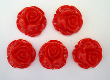 5 x Red Rose Flowers 28mm Resin Flatbacks Cabochon Decoden