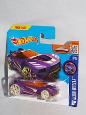 Hot Wheels 2016 Glow Wheels Series #55 Chicane Purple On Short Card