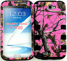 Cover Case for Samsung Galaxy Note 2 N7100 Pink Camo Mossy Oak with Black Skin