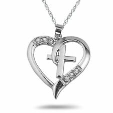 New Stylish Silver Heart Holy Cross Pendant With Clear CZ
