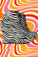 S16✪ 60er 70er Jahre groovy Hippie Plateau Schuhe beatclub Psychedelic Zebra 38