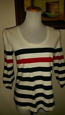 Tommy Hilfiger blue white and red stripe top size medium