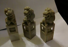 Three Chinese Soapstone Dogs of Foo Seals - intricate Ball work