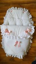 Baby's Cosy Toes / Footmuff 3-in-1 in WHITE with PINK   AND LARGE PINK  BOWS