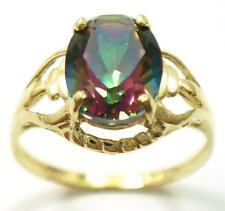 10KT YELLOW GOLD OVAL MYSTIC TOPAZ RING SIZE 7, 1.5g