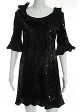 MOSCHINO CHEAP AND CHIC Black Sequin Ruffled Trim Cocktail Evening Dress Sz 10