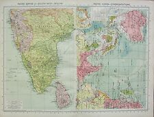 1934 LARGE MAP ~ INDIAN EMPIRE SOUTH WITH CEYLON ~ INDIAN OCEAN COMMUNICATIONS
