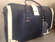 Primark  XL Weekender Reisetasche Blau Creme Kunstleder 51x 33 cm