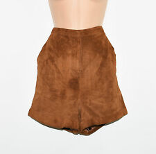 Vintage Brown Suede Leather MONKI High Waist Hot Pants Shorts Size L  L3