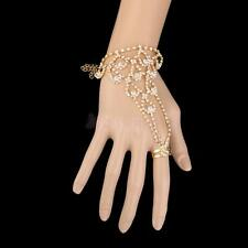 Bridal Golden Rhinestone Crystal Slave Link Chain Cuff Bracelet w Attached Ring