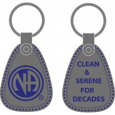 Narcotics Anonymous Recovery Keychains NA Clean & Serene Key Tag Pewter & Blue