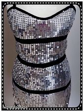 ✨COTTON CLUB Silver Sequin Pencil Stretch Bodycon Dress UK 8 EU 36 FAST��PAID£55