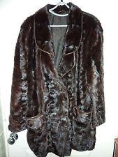 "Ladies unusual soft real dark brown Mink fur coat bust 44"" size 16 length 33""vgc"