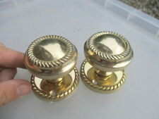 Retro Brass Door Knobs Handles Pair Backing Plates Ornate Rope Georgian Style