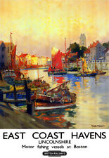East Coast Havens Lincolnshire Motor fishing vessels   Rail Travel  Poster Print