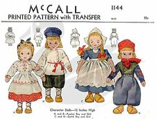 Reproduction Vintage Russian & Dutch Girl and Boy Dolls Sewing Pattern M1144