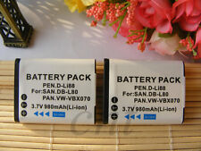 2 x VW-VBX070 Battery for Panasonic HX-DC10 HX-DC1 HX-WA10 DB-L80 DLi88