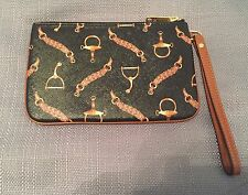 Ralph Lauren Black Galloway Equestrian Print Wristlet - New with Tags