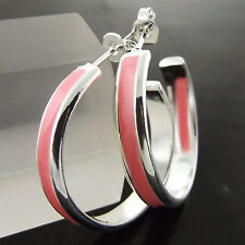 A682 GENUINE REAL 925 STERLING SILVER LARGE PINK ENAMEL STUD HOOP EARRINGS