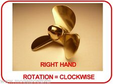 BRASS MODEL BOAT PROPELLER 45mm 3 BLADE RIGHT HAND M4 ( CLOCKWISE ROTATION )