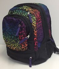 JanSport AIR CURE Black Amethyst Animal Print Laptop Backpack