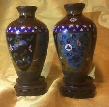 Pair Vintage JAPANESE Or CHINESE CLOISONNÉ ENAMEL VASES YING YANG BUTTERFLY