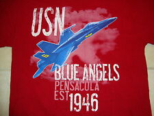 USN Blue Angels Pensacola EST 1946 Military Jet Distressed Red T Shirt Size M