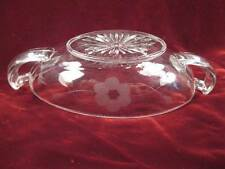 Clear Glass Relish Dish Bowl Copper Wheel Etched Floral Pattern Vintage Nice (O)