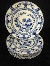 SET OF 6 ANTIQUE FISCHER & MEIG ART NOUVEAU BLUE & WHITE FLORAL DINNER PLATES