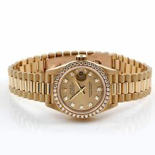 Rolex Ladies President 69138 Factory Champagne Diamond Dial/Bezel 18K Y Gold
