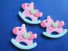 5 x 1.25 INCH PINK ROCKING HORSE FLAT BACK RESIN HEADBANDS BOWS CARD MAKING