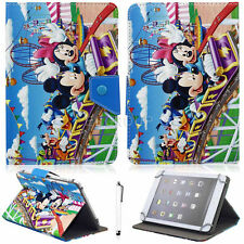 Roller Coaster Mickey Minnie PU Stand Case Cover For Various 7-7.9 inch Tablet