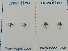 Unwritten  Heart and Cross  Stud Earring Duo in Sterling Silver