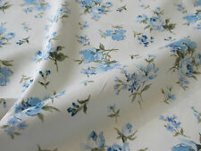 "Ivory & Blue Vintage ""Flo"" Floral/Flowers 100% Cotton Poplin Fabric."